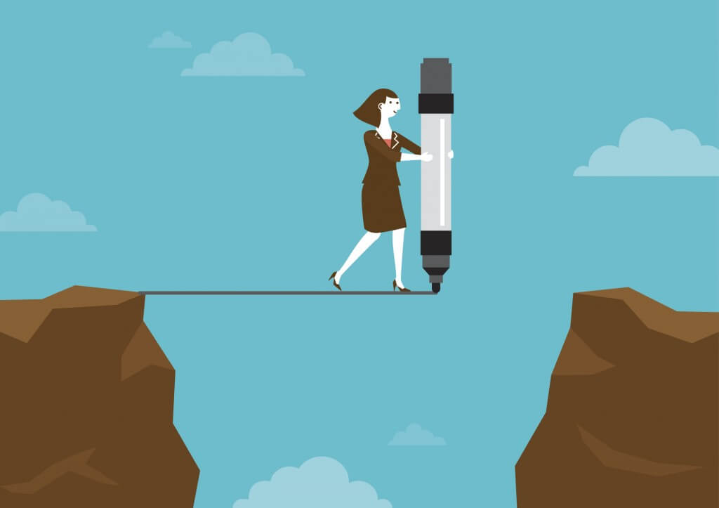 Businesswoman Drawing Line Across Cliffs | New Business Concept